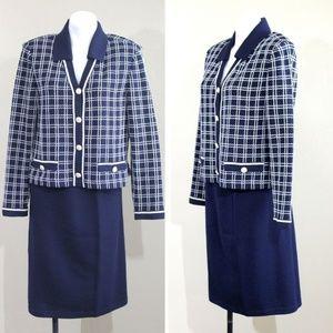 St John Collection Knit 3 Piece Skirt Jacket Set